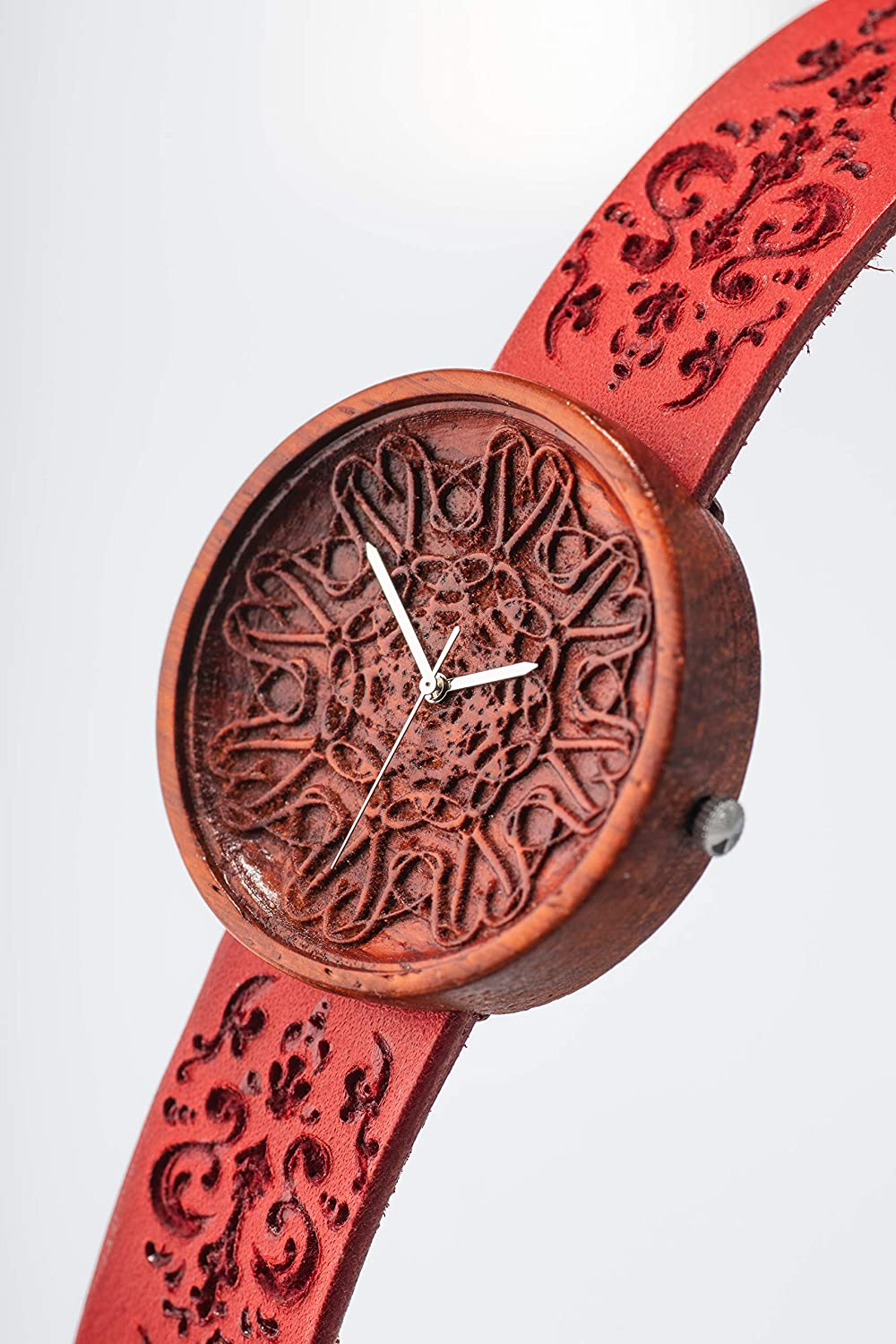 cda237f74 Amazon.com: Red Womens Wooden Watches by Ovi Watch, Swiss Quartz, Sapphire  Crystal Glass, Engraved Leather Watch Strap, Unique Design Timepiece, ...
