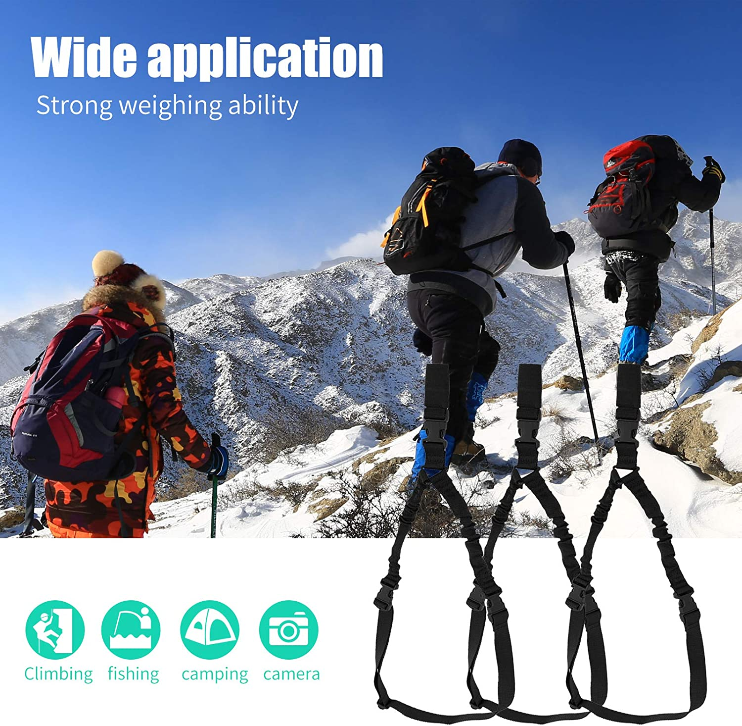 1Pc Climbing Rope Multi-Function Rope Adjustable Shoulder Straps Mountaineering Lanyard with Metal Hook for Outdoor Sports Camping Fishing Safety Accessory 1 Pc