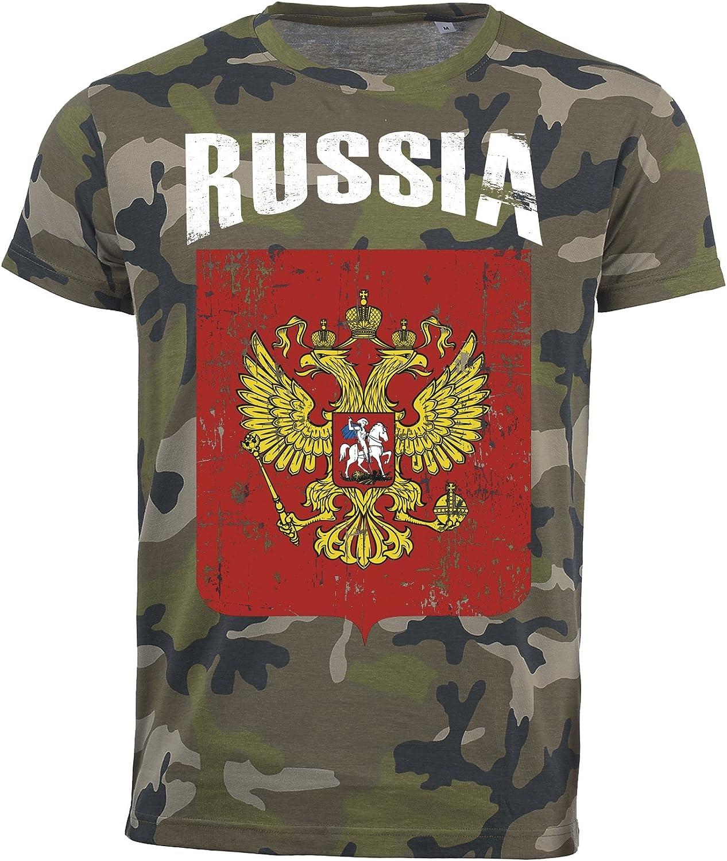 Aprom-Sports Camiseta de Rusia Camuflaje Army Mundial 2018 .- Vintage Destroy Escudo D01