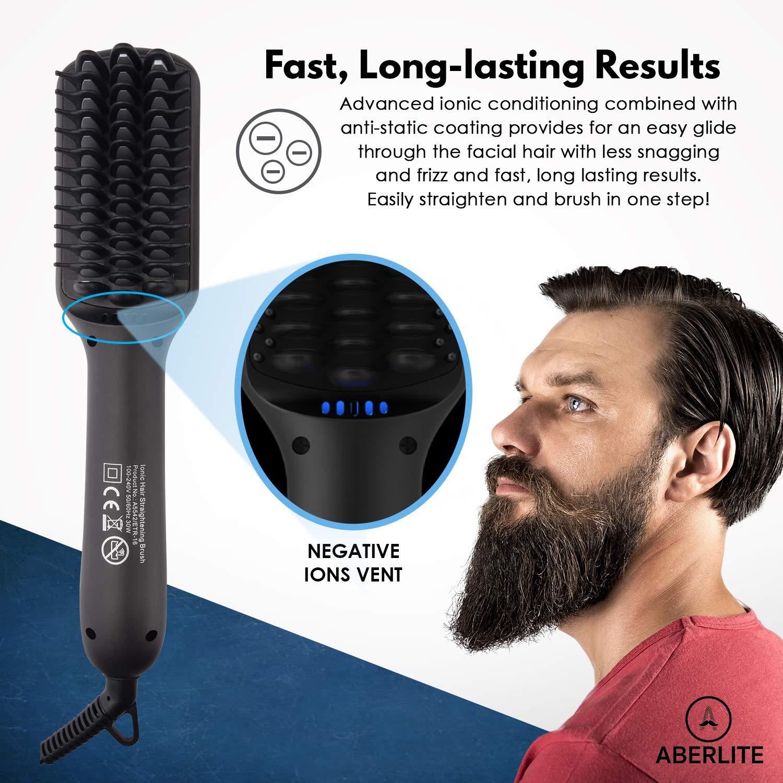 Upgrade Aberlite Beard Straightener for Men - Beard Straightening Heat  Brush Comb Ionic - 5 Heat