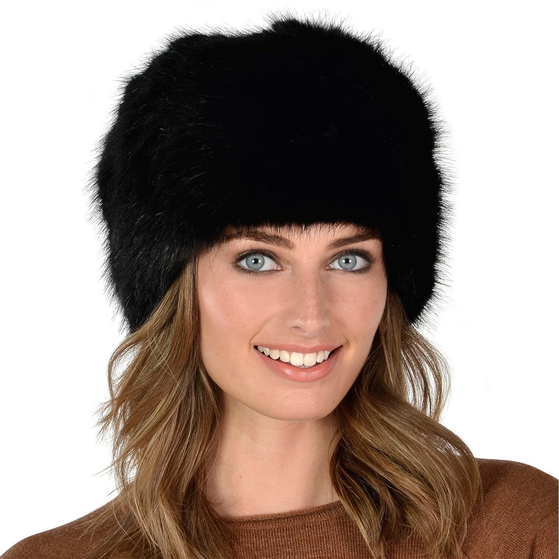 4c3a893854b Womens Classic Black Stylish Faux Fur Russian Cossack Hat Winter Fashion  Warm  Amazon.co.uk  Clothing