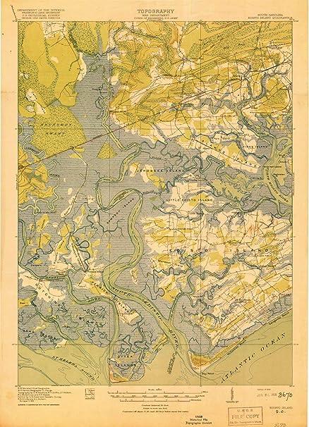 South Carolina Map Islands.Amazon Com South Carolina Maps 1919 Edisto Island Sc Usgs