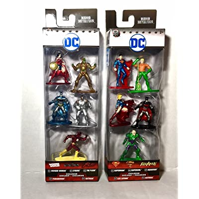 "NEW JADA 1.65"" ACTION FIGURE COLLECTION - Nano MetalFigs - DC 5 Pack Figure Collector's Sets (2 Assortments) Set Of 10pcs ACTION FIGURES By Jada Toys: Toys & Games"