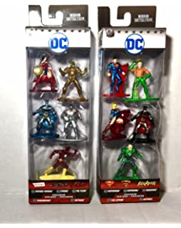 New Nano Metal 5 Figures Superman,Supergirl,Batman,Aquaman,Lex Luthor Pack B