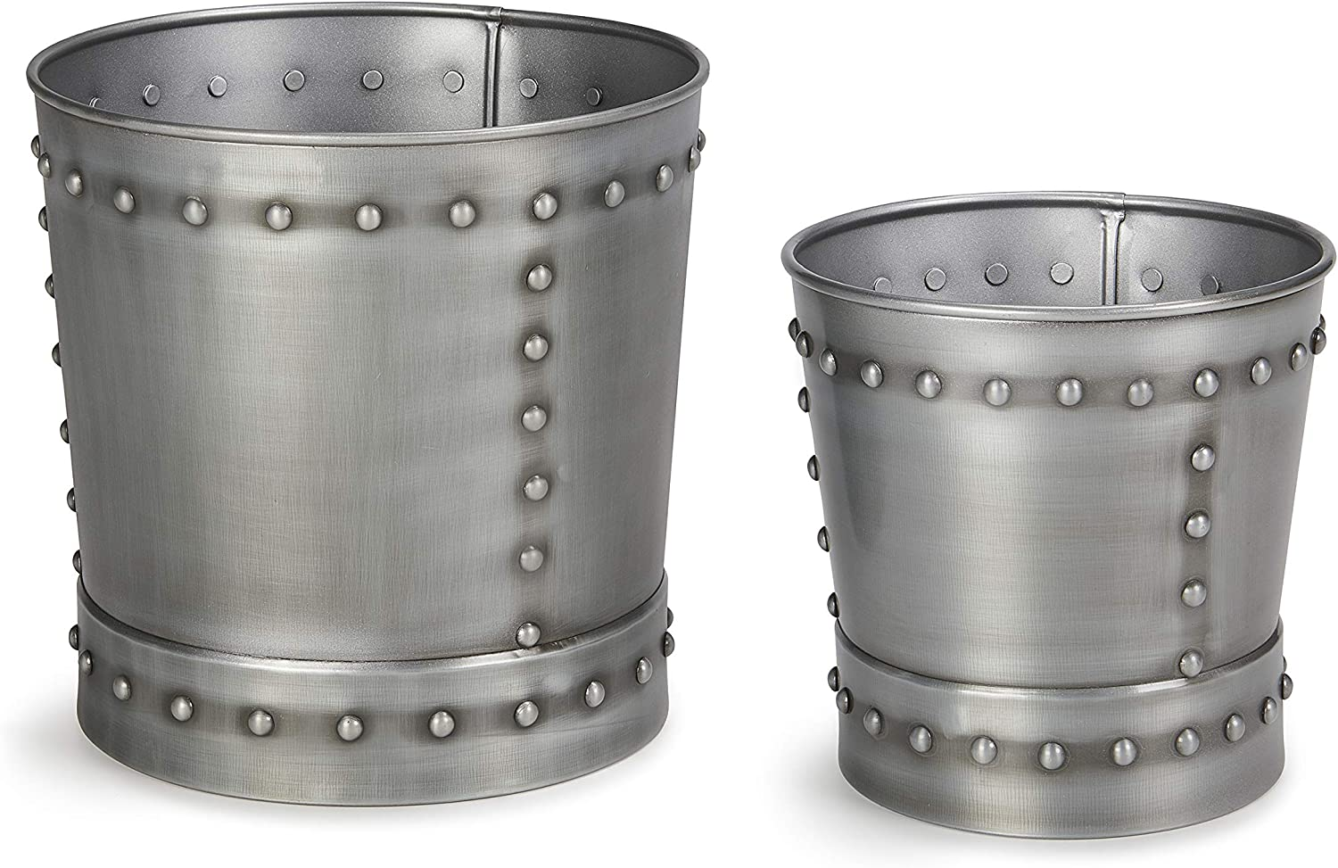 Good Directions P912Z Unique Medium Riveted Zinc Set of 2 for Outdoor or Indoor Use, Garden, Deck, and Patio Planter