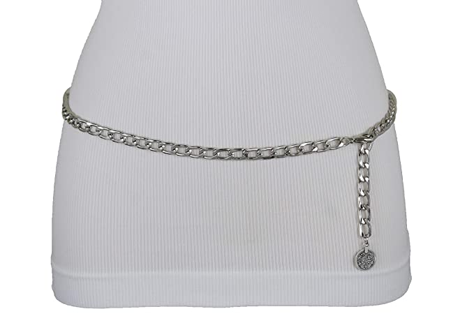 3641c5c983adb TFJ Women Fashion Belt High Waist Hip Silver Metal Chain Coin Charm Buckle  M L XL