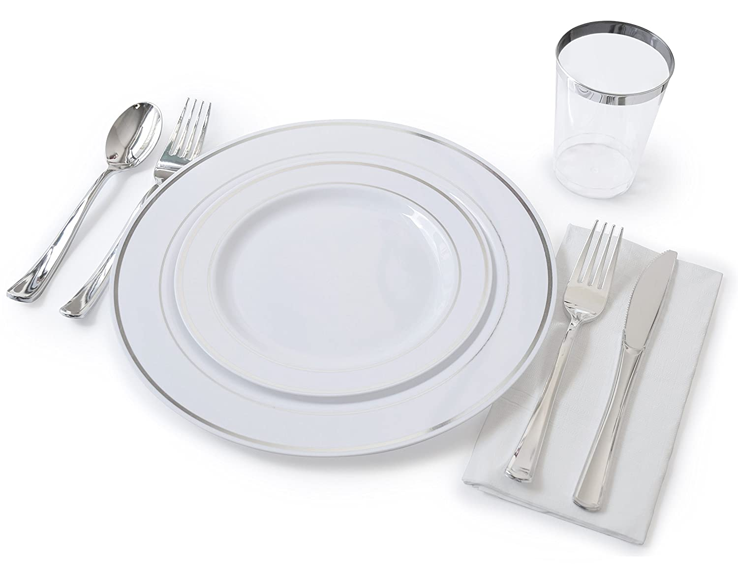 Amazon.com \ OCCASIONS\  Full Plastic Tableware set - Wedding Disposable Plastic Plates Plastic silverware Silver rimmed tumblers and 3 ply Paper Napkins ...  sc 1 st  Amazon.com & Amazon.com: \