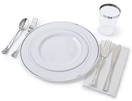 u0026quot;OCCASIONSu0026quot; Full Plastic Tableware set - Wedding Disposable Plastic Plates Plastic silverware  sc 1 st  Amazon.com & Amazon.com: