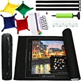 """Jigsaw Puzzle Mat Roll Up, Puzzle Mat 46"""" x 26"""" Portable Up to 1500 Pieces, Puzzle Saver with 9 Pieces Puzzle Glue Sheets for"""