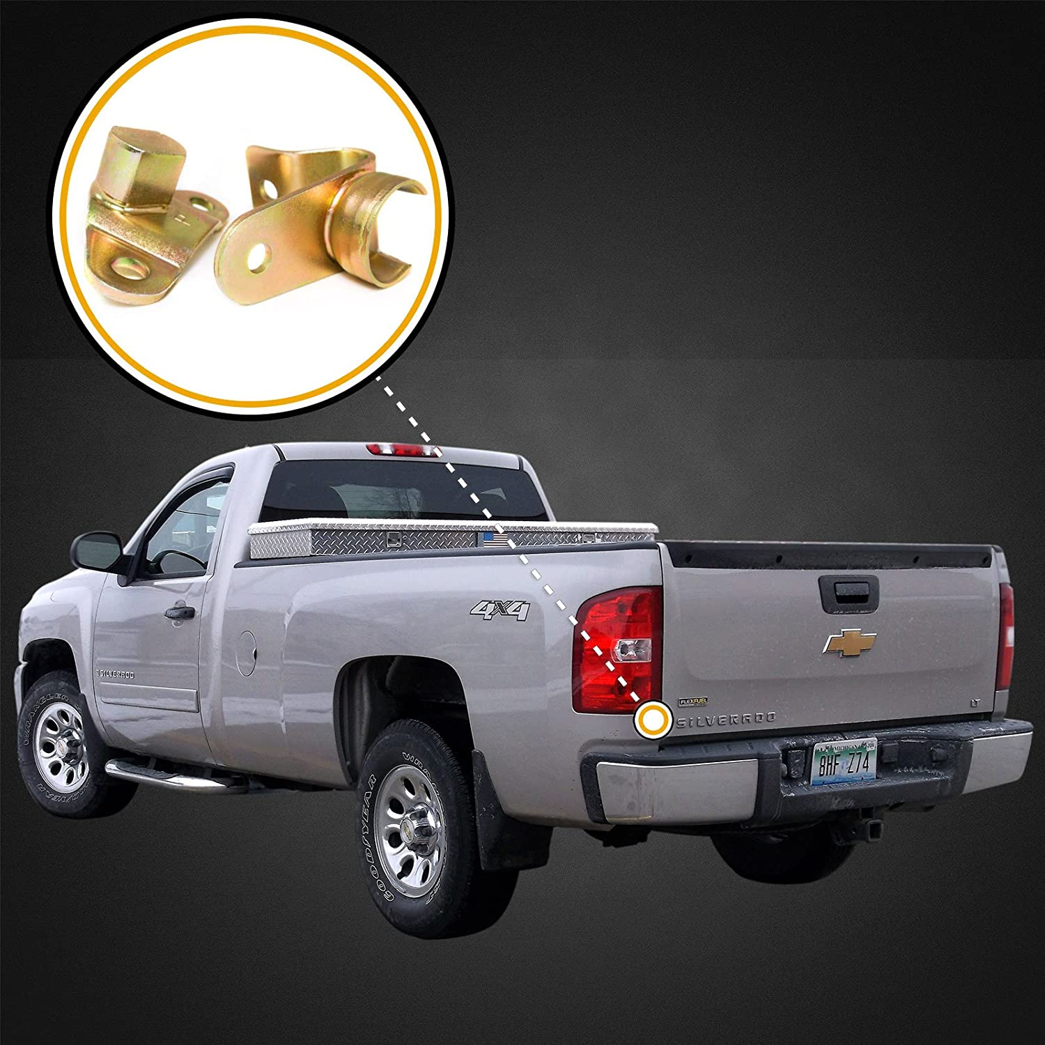 Red Hound Auto Left /& Right Side Tailgate Hinge Kit Compatible with Chevy//GMC Silverado Sierra 1999-2007 Select Models