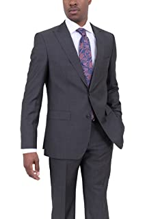 0b8ac9111 Hugo Boss Fordham/Central Charcoal Gray Pindot Wool Suit with Peak Lapels
