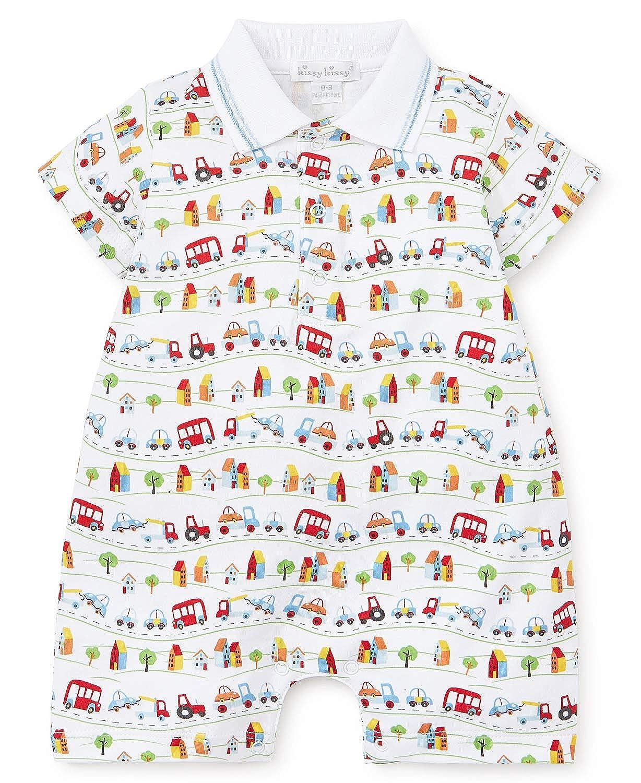 Kissy Kissy Baby-Boys Infant Traffic Print Short Playsuit with Collar