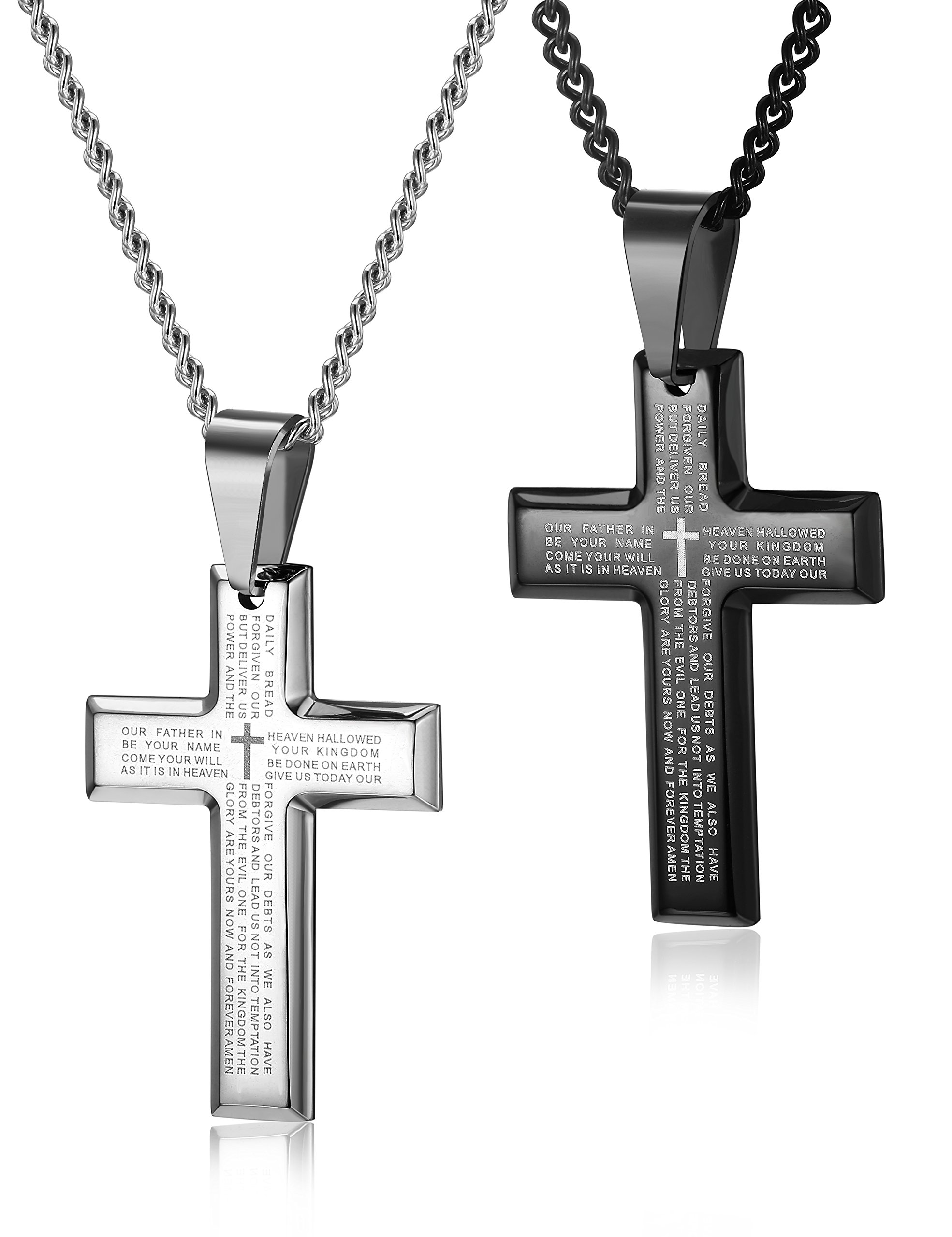 LOYALLOOK 2pcs Men's Stainless Steel Silver Black Tone Cross Pendant Lord's Prayer Necklace 24 Inch