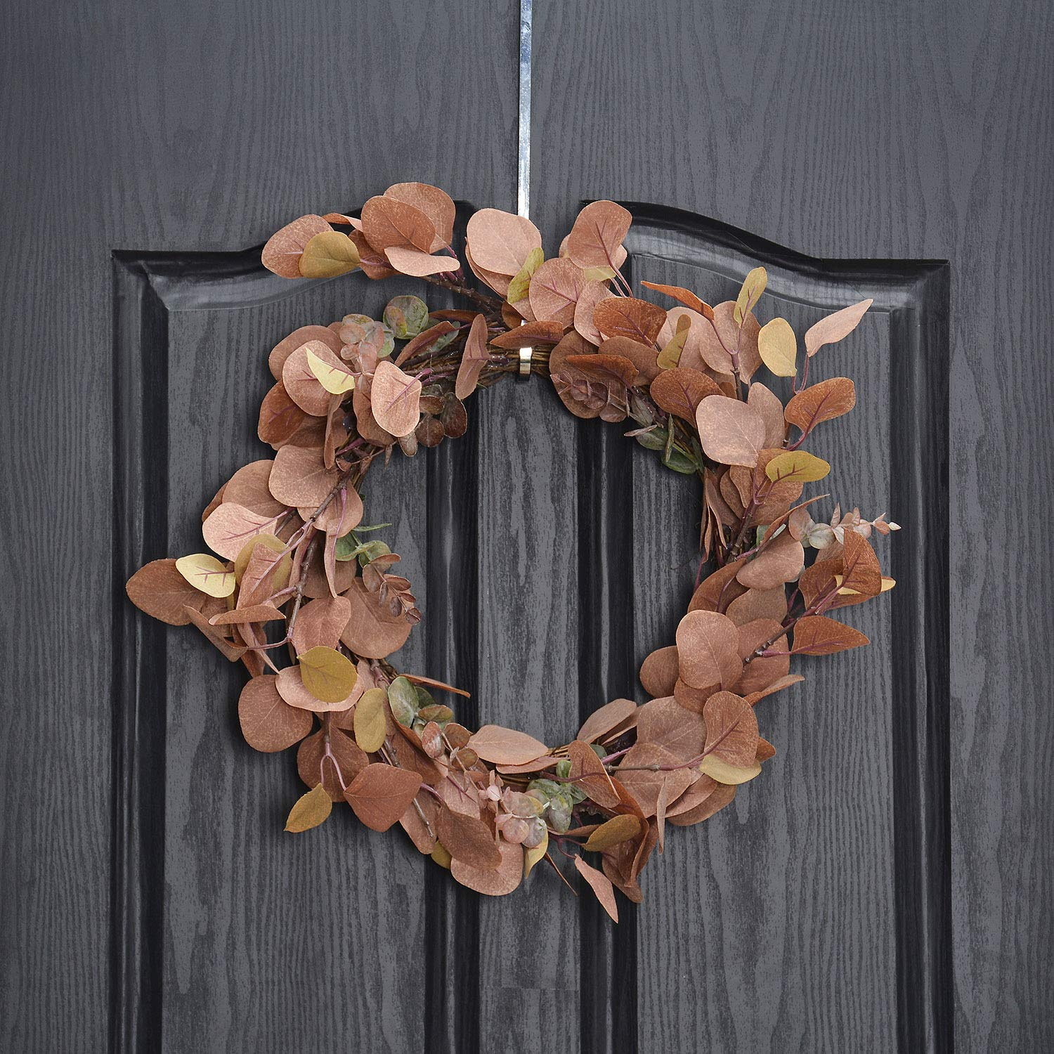 QUNWREATH Handmade Floral 14 inch Leaf Series,Fall Wreath,Wreath for Front Door,Rustic Wreath,Farmhouse Wreath,Grapevine Wreath,Light up Wreath,Everyday Wreath,QUNW13