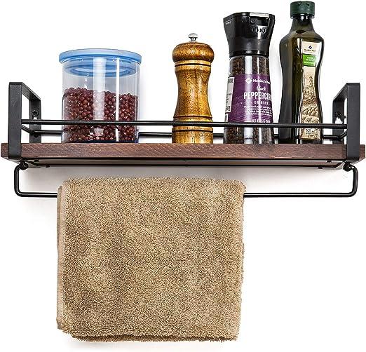 SODUKU Rustic Kitchen Wood Wall Shelf, Spice Rack Shelf with Towel Bar,Wood  and Metal Floating Shelves Wall Mounted Toilet Storage Shelf for Kitchen ...