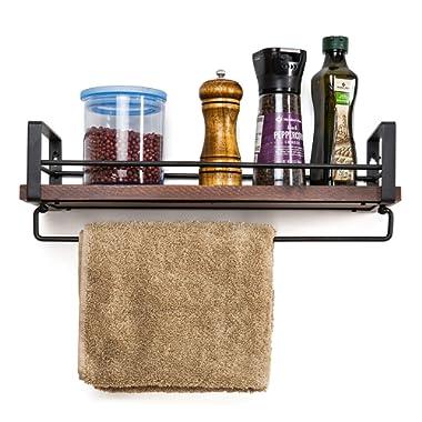 SODUKU Rustic Kitchen Wood Wall Shelf, Spice Rack Shelf with Towel Bar,Wood and Metal Floating Shelves Wall Mounted Toilet Storage Shelf for Kitchen Bathroom Bedroom Living Room