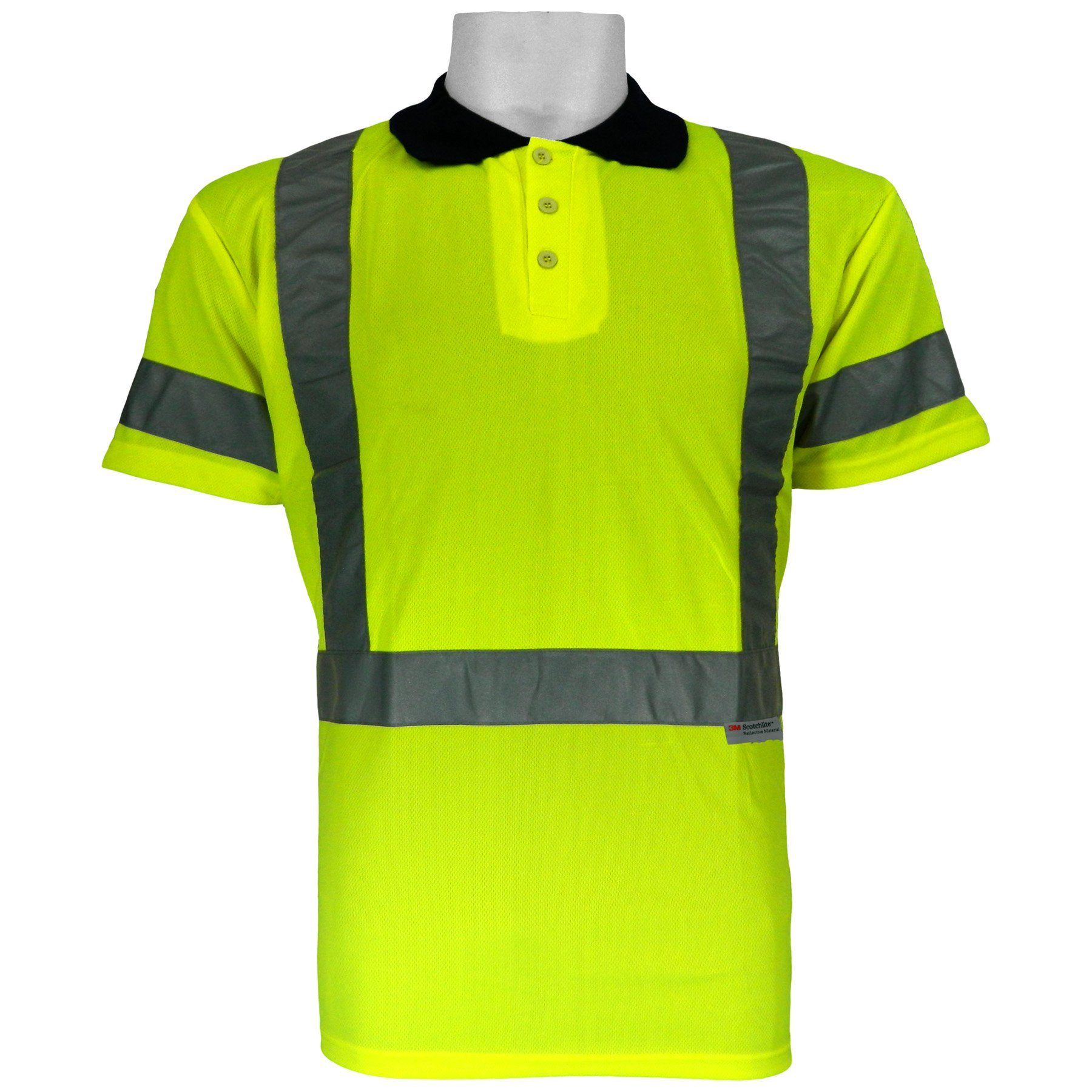 Global Glove GLO-009 FrogWear Class 3 Polo/Golf Style High Visibility Safety T-Shirt with 3M Scotchlite Reflective, Extra Large, Lime (Case of 100) by Global Glove (Image #1)