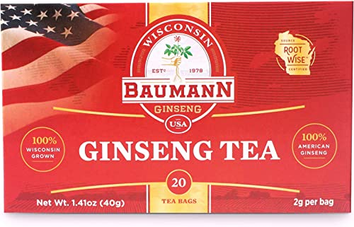 Baumann Ginseng Tea Bag- American Ginseng Tea, Grown in Central Wisconsin, U.S.A