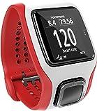 TomTom Multi-Sport Cardio Orologio GPS con Cardiofrequenzimetro Integrato, per Corsa Outdoor e Indoor, Bici e Nuoto, Bianco/Rosso
