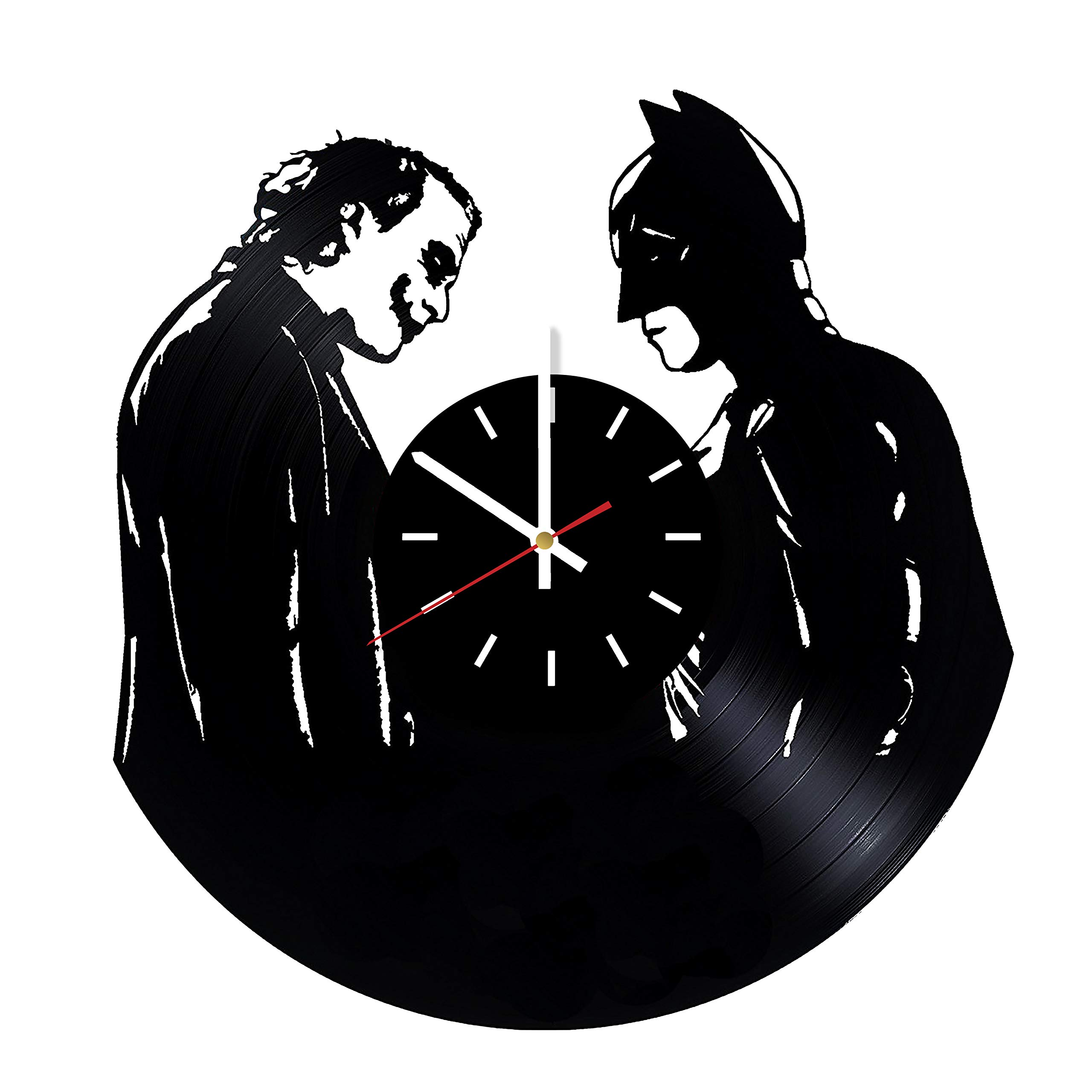 Everyday Arts Batman and Joker Artwork Vinyl Record Wall Clock - Get Unique Bedroom or Garage Wall Decor - Gift Ideas for Friends, Brother - Darth Vader Unique Modern Art