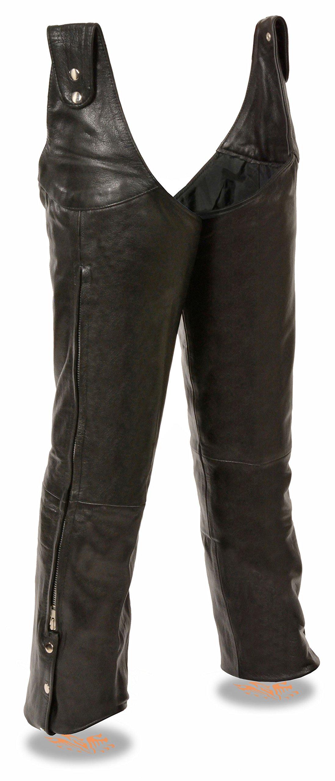 Milwaukee Leather Men's Adjustable Side Snap Beltless Leather Chap (Black, L)