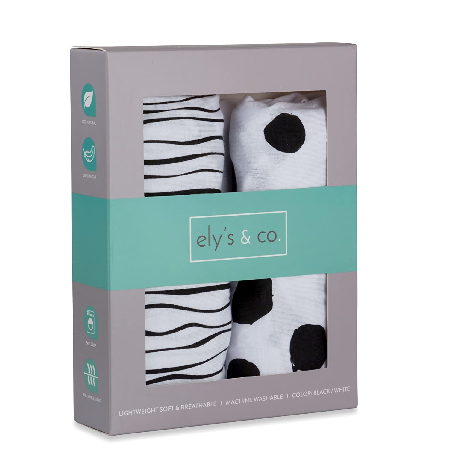 Portable Crib Sheet Set 2 Pack Black and White Abstract Stripes and Dots by Elys /& Co Pack n Play Playard Sheet