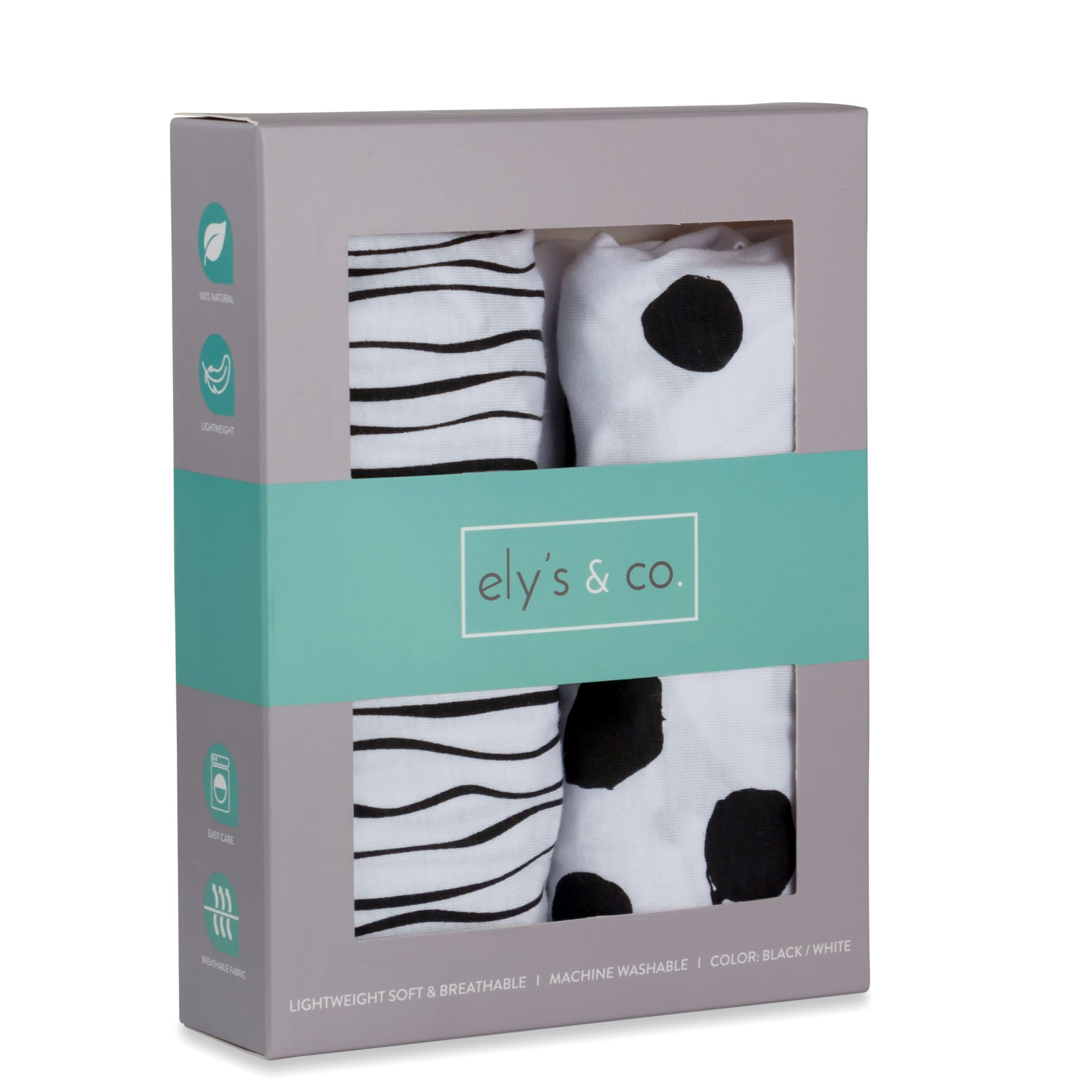 Bassinet Sheet Set 2 Pack 100% Jersey Cotton Black and White Abstract Stripes and Dots by Ely's & Co