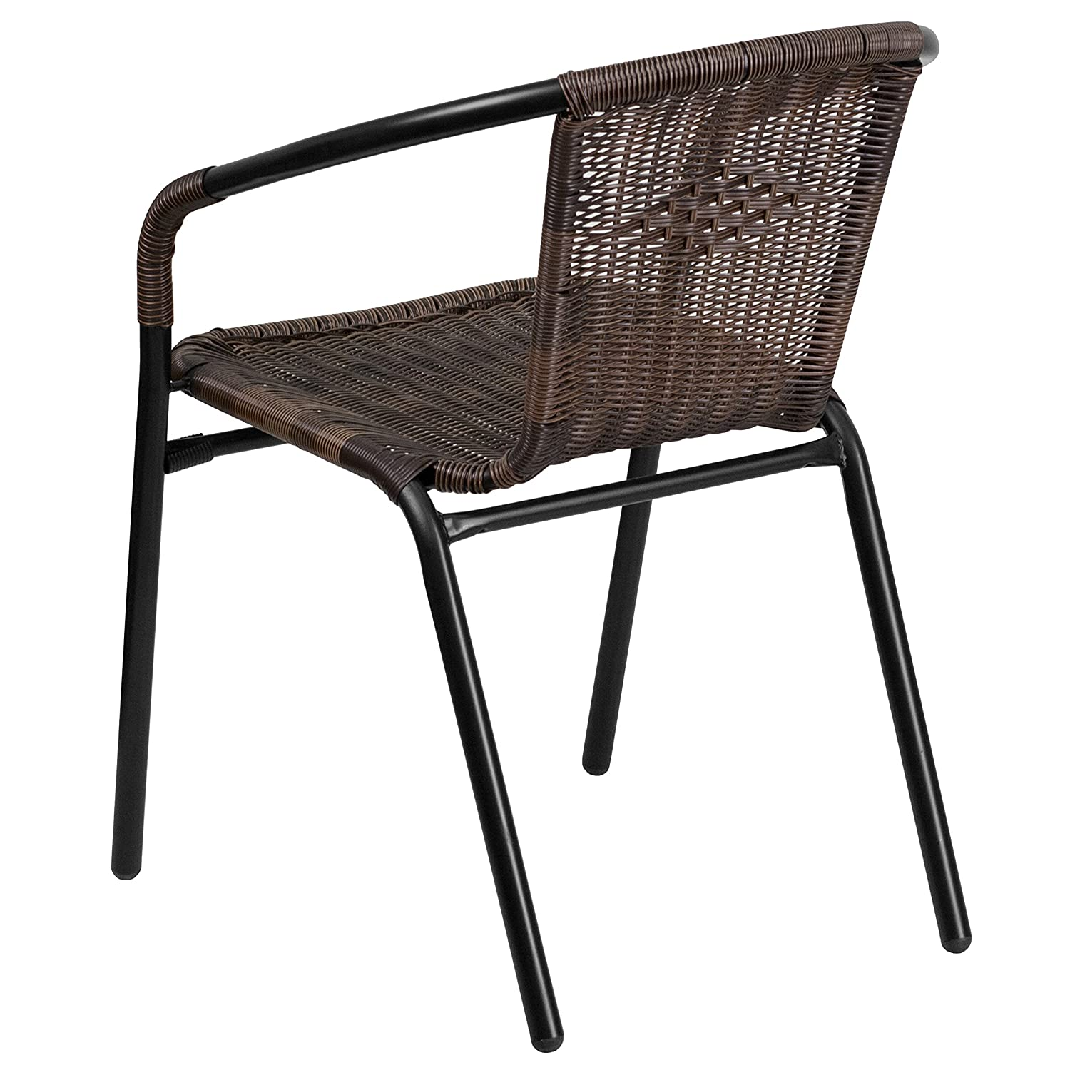 outdoor metal chair. Amazon.com: Flash Furniture Dark Brown Rattan Indoor-Outdoor Restaurant Stack Chair: Kitchen \u0026 Dining Outdoor Metal Chair