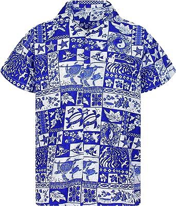 V.H.O Funky Hawaiian Shirt Men Short-Sleeve Front-Pocket Block Puzzle Multiple Colors