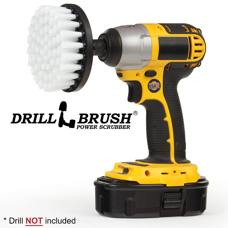 Drill Brush Power Scrubber Blanco 10 cm de fijació n para cuerda depurador del taladro de potencia para el vidrio de tapicerí a sofá s Sillas Alfombras Asientos de cuero y muebles de limpieza 4in-Flat-White-Soft-QC