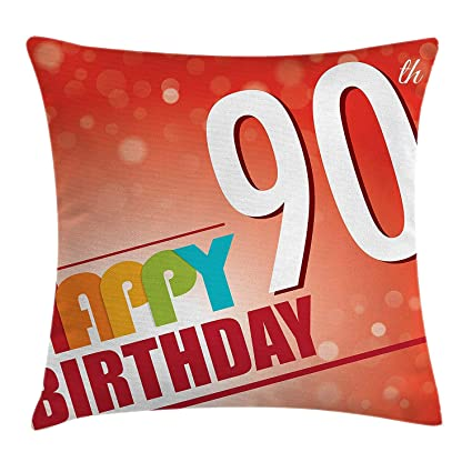 Colorful Footprint 90th Birthday Decorations Pillow Cushion Happy Greeting On Red Bokeh Background Retro Style