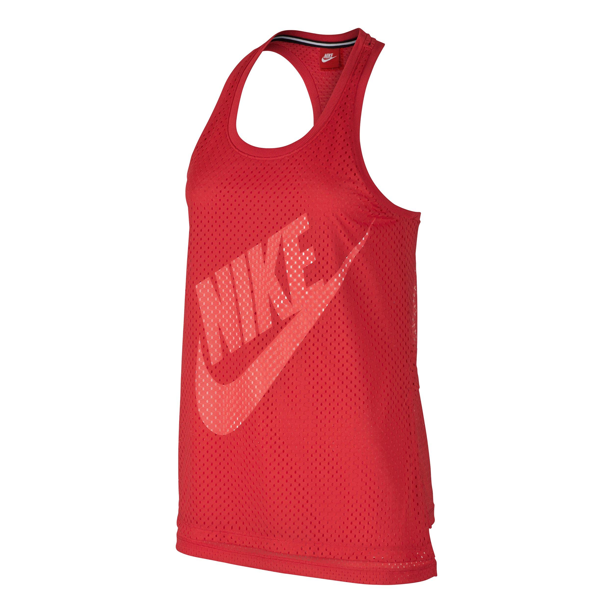 Nike Mesh Sleeveless Tank Top (Womens) (L, Red)