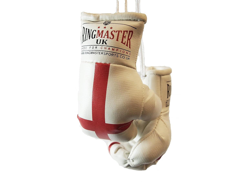 RingMasterUK Mini Boxing Gloves Car Hanger Van Rear Mirror Gift Flags England Flag