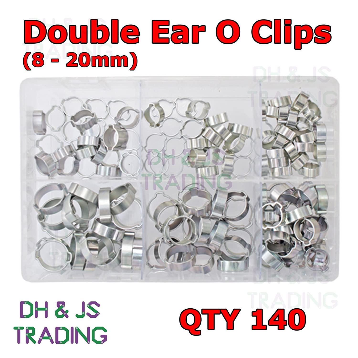 Assorted Box of O Clips 8-20mm Qty 140 Double Ear Clamp Hose Petrol Water