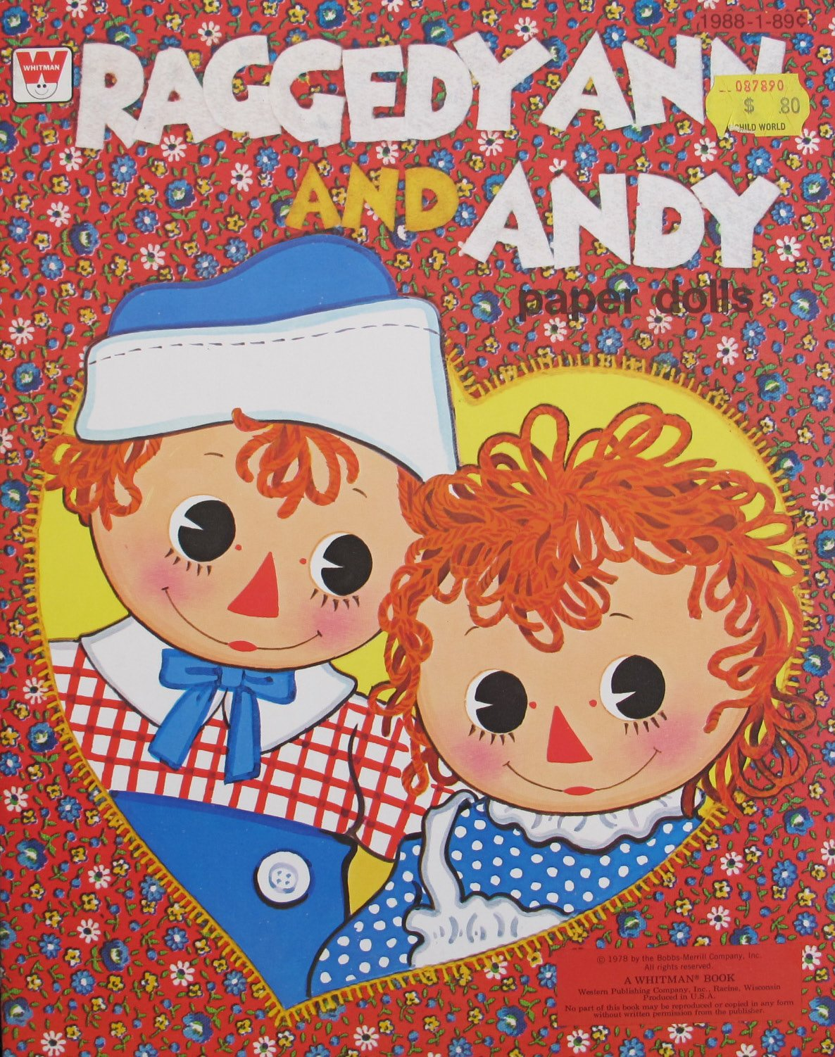 Whitman RAGGEDY ANN and ANDY PAPER DOLLS Book UNCUT w Press Out Costumes (1978)