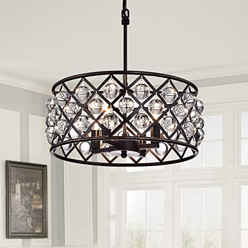 Edvivi Azha 4-Light Oil Rubbed Bronze Drum Pendant Chandelier with Crystal Spheres ORB Glam Lighting