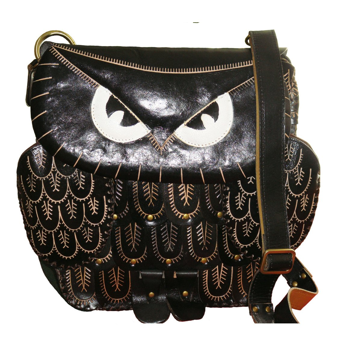Black Owl Face Cover Unique Holiday Gift Choice Genuine Leather Messenger Bag
