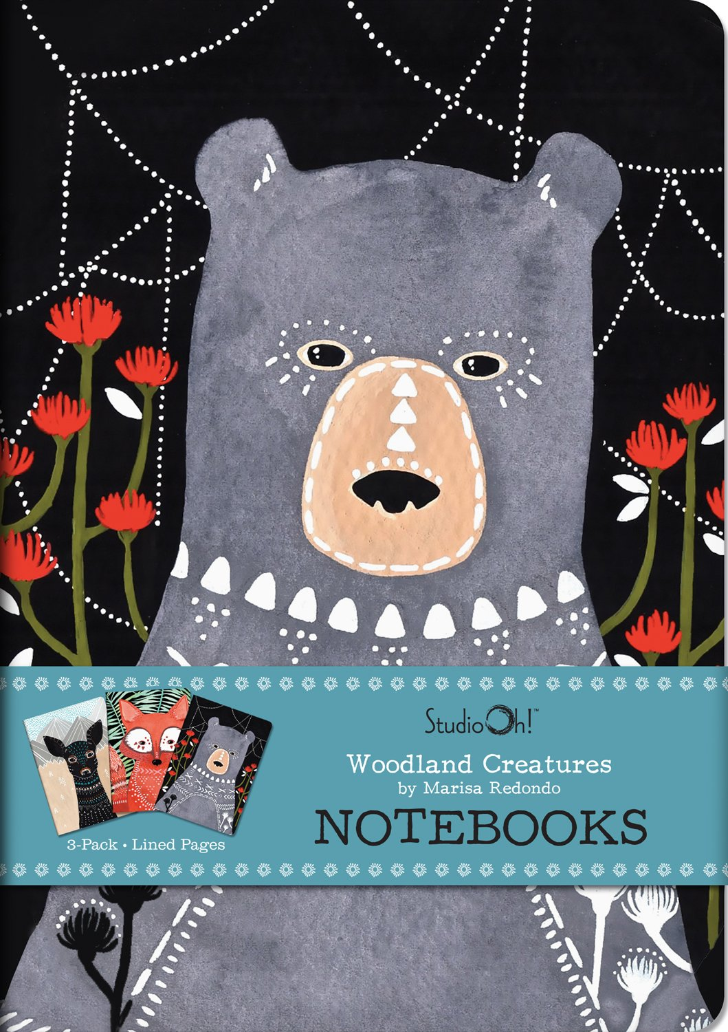 Studio Oh! Notebook Trio with 3 Coordinating Designs Available in 12 Different Assortments, Marissa Redondo Woodland Creatures