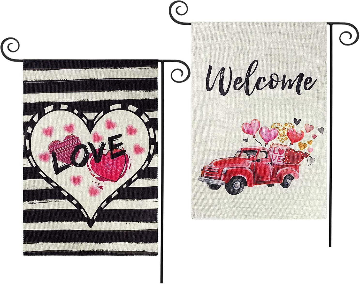 CDLong 2 Pack Valentine's Day Garden Flag - Love Heart & Love Heart Truck Yard Flag - Vertical Double Sized Holiday Yard Outdoor Decoration 12.5 x 18 Inch