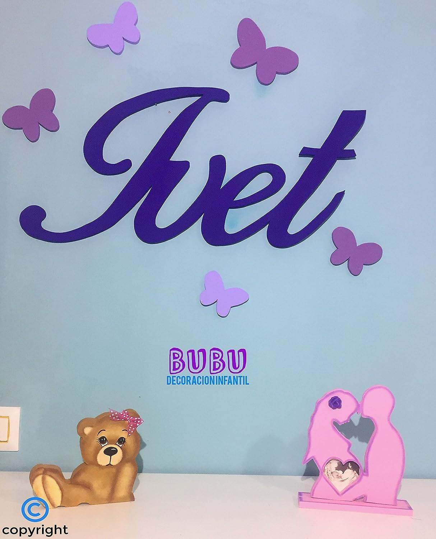 Nombres para pared en madera con decoración infantil: Amazon ...