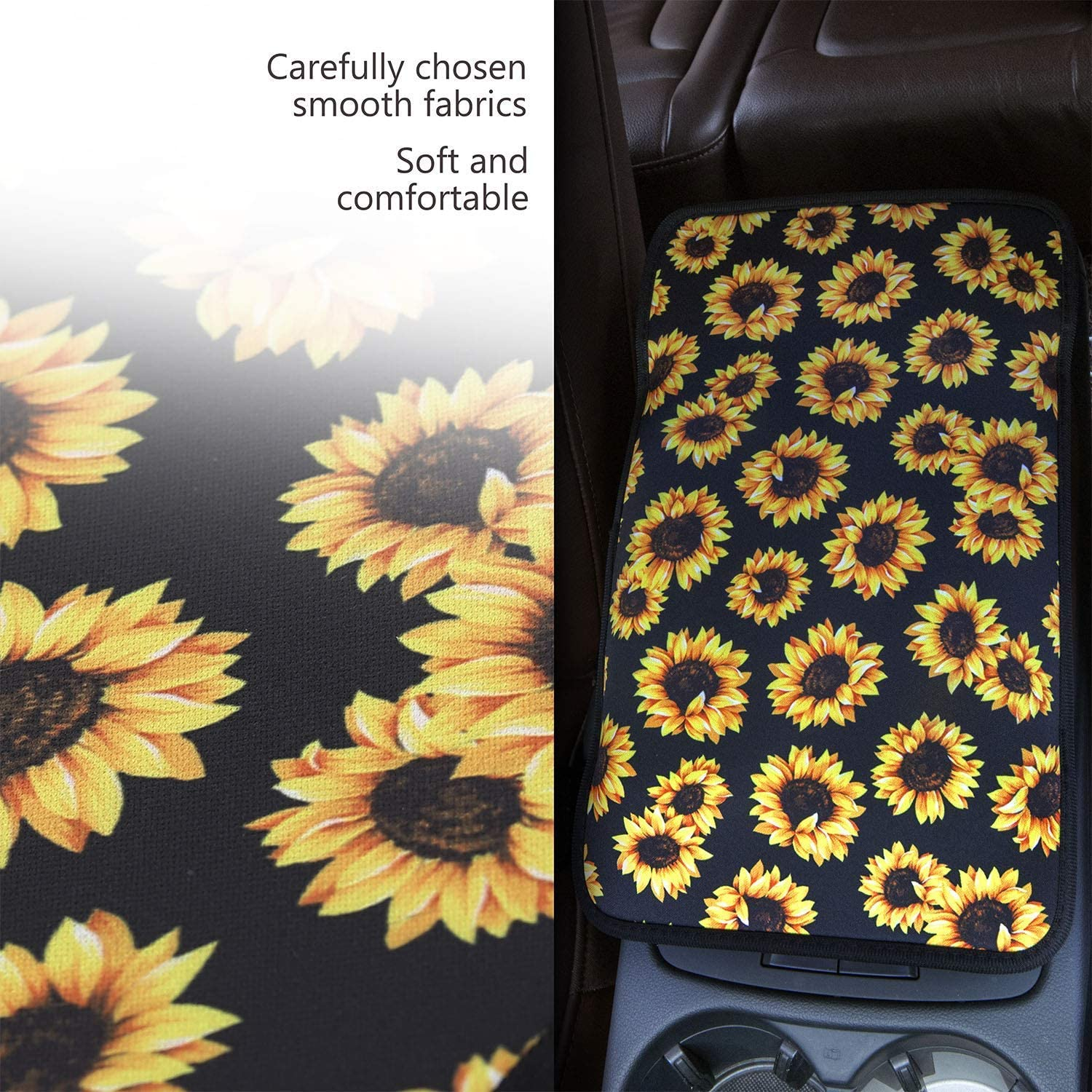 chaqlin Auto Center Console Armrest Cover Purple Butterfly Pattern Universal Fit Soft Comfort Center Console Armrest Cushion for Car Seat Handrail Box