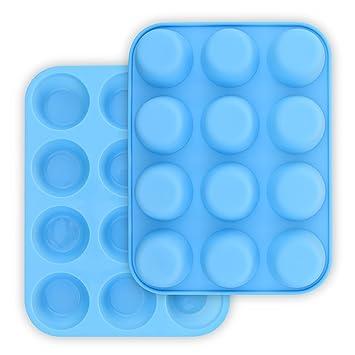 HomEdge - Molde de silicona para magdalenas (12 tazas, 2 unidades, antiadherente), color azul: Amazon.es: Hogar