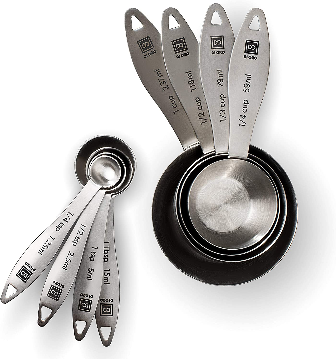 New DI ORO 8-Piece 18/8 Stainless Steel Measuring Cup and Spoon Set - Easy-to-Read Measurements - For Dry and Liquid Ingredients - Great Kitchen Tools for Cooking and Baking - Dishwasher Safe