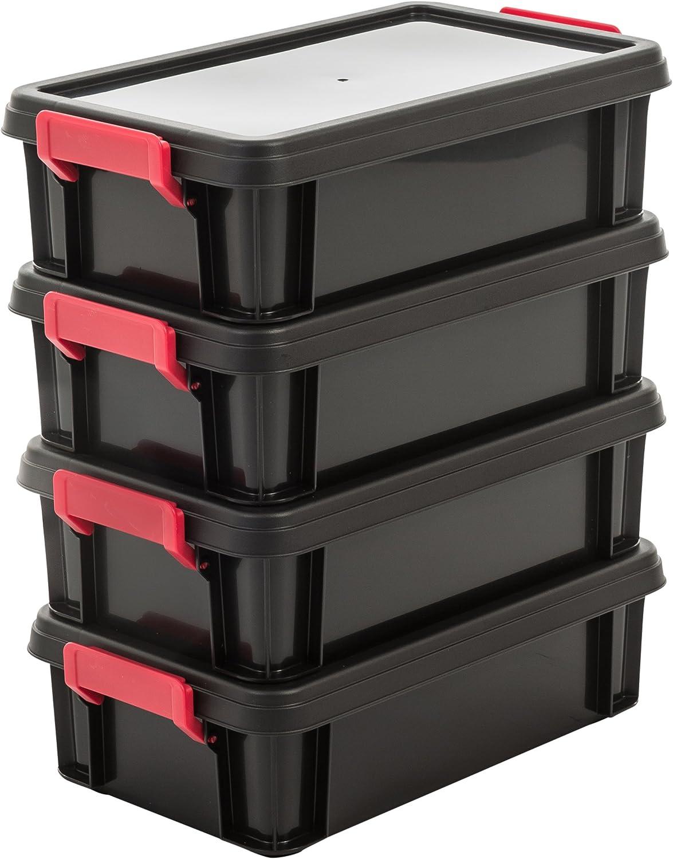 Iris Ohyama, lote 4 cajas apilables de almacenamiento con tapa - Multi Box - MBX-4, plástico, negro / rojo / transparente, 4L, 36,5 x 21,4 x 10,5 cm
