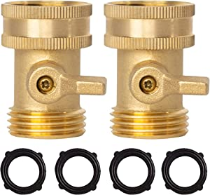 Xiny Tool Brass Garden Hose Shut Off Valve, Heavy Duty 3/4 Inch Solid Brass Garden Hose Shut Off Valve with 10 Extra Rubber Washers (2)