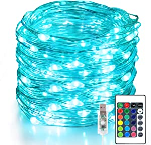 Aluan Fairy Lights 100 LED 33 FT Christmas Lights USB Plug in String Lights, 16 Colors Changing Silver Wire Firefly Lights with Remote Control for Indoor Party Halloween Christmas - 16 Vibrant Colors
