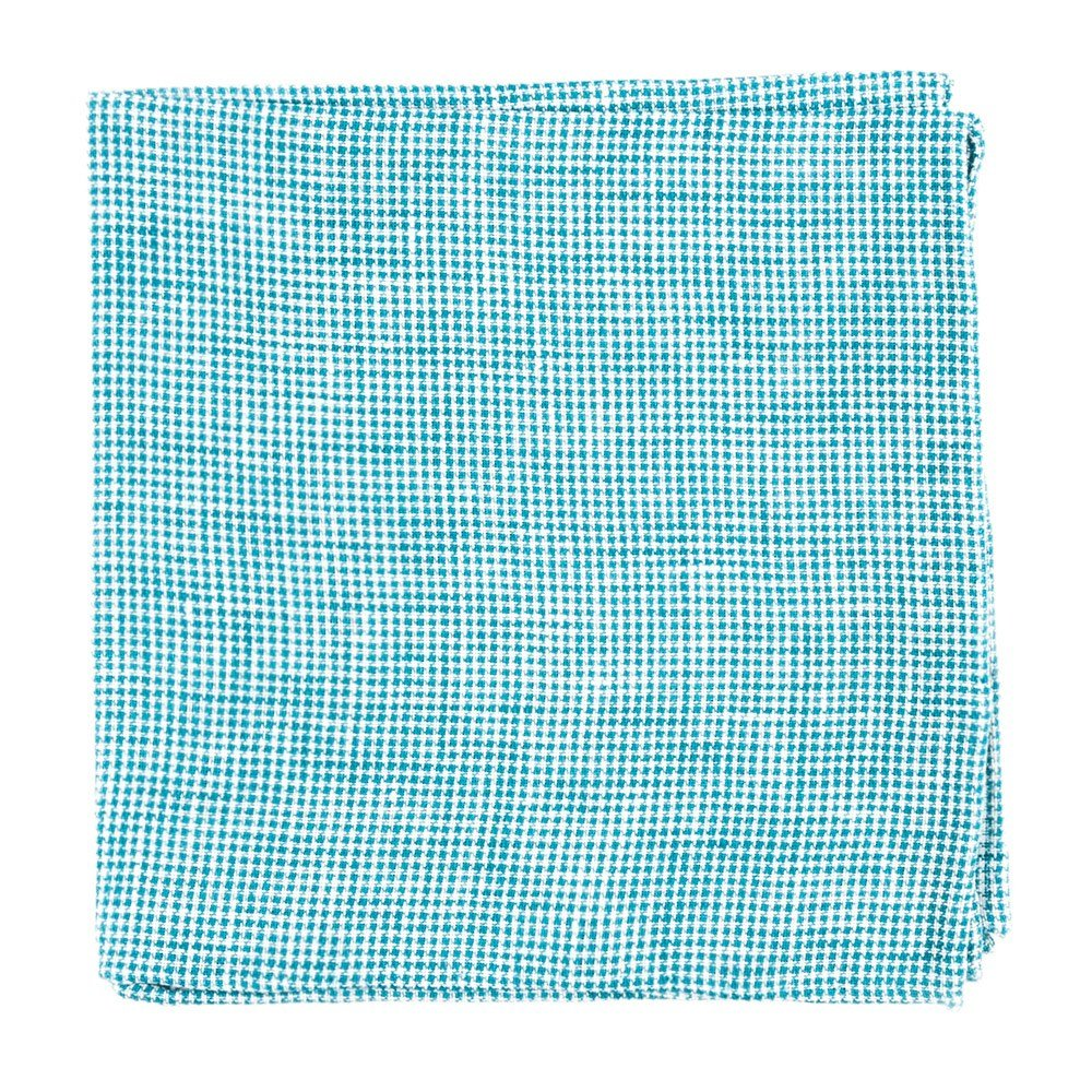 The Tie Bar 100% Linen Verse Check Green Teal Pocket Square
