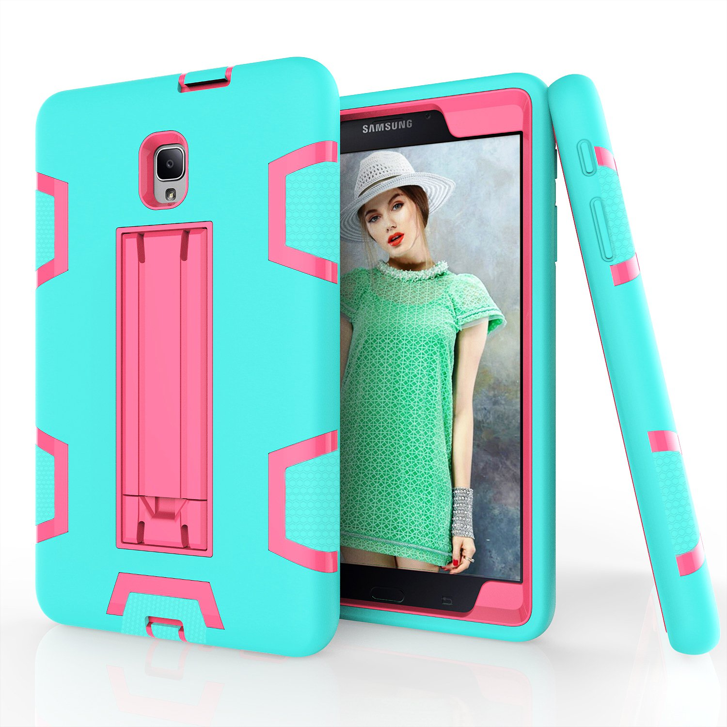 PPSHA Samsung Galaxy Tab A 8.0 2017 Case, High Impact Armor Heavy Duty Hybrid Shockproof Protection Cover Built With Stand for Galaxy Tab A 8.0 (SM-T380/T385) 2017 Release (Teal+Rose) by PPSHA (Image #1)