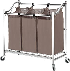 STORAGE MANIAC 3-Section Laundry Sorter, Heavy Duty Rolling Laundry Cart for Clothes, Chrome