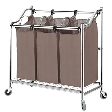 STORAGE MANIAC 3-Section Heavy Duty Laundry Hamper Sorter, Superior Steel Rolling Laundry Cart with Removable Bags, Chrome